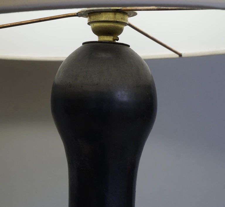 French 1960 Zoomorphic Black Satin Ceramic Table Lamp For Sale