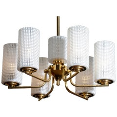 1960 Brass and Glass Chandelier / Pendant by Carl Fagerlund for Orrefors Sweden