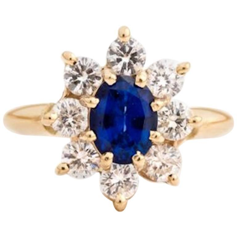 1960s 1 Carat Blue Sapphire and 1 Carat Diamond 14 Karat Yellow Gold Ring