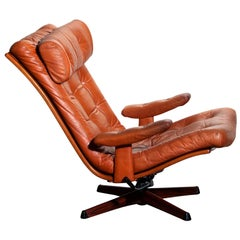 1960s, 1 Cognac Leather Swivel or Relax Lounge Easy Chair by Göte Design Nässjö