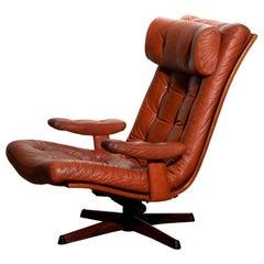 1960s, 1 Cognac Leather Swivel / Relax Lounge Easy Chair by Göte Design Nässjö