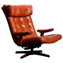 1960s, 1 Cognac Leather Swivel / Relax Lounge Easy Chair by Göte Design Nässjö