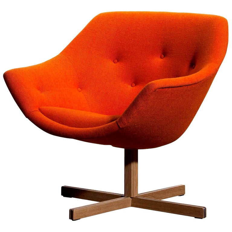 Finnish 1960s, 1 'Mandarini' Swivel Armchair by Carl Gustaf Hiort and Nanna Ditzel For Sale
