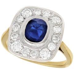1960s 1.02 Carat Sapphire and 1.13 Carat Diamond Yellow Gold Cocktail Ring