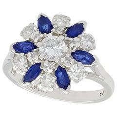 1960s 1.10 Carat Sapphire 1.20 Carat Diamond Gold Cluster Ring