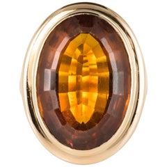 1960s 11.50 Carat Citrine 18 Karat Yellow Gold Vintage Ring