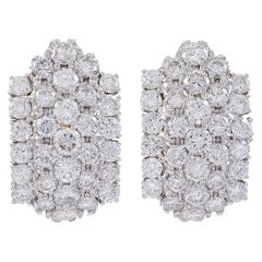 1960s 12 Carat Diamond Cocktail Stud Earrings in 18 Karat White Gold