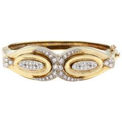 1960s 14 Karat Bi-Color Gold Diamond Bangle