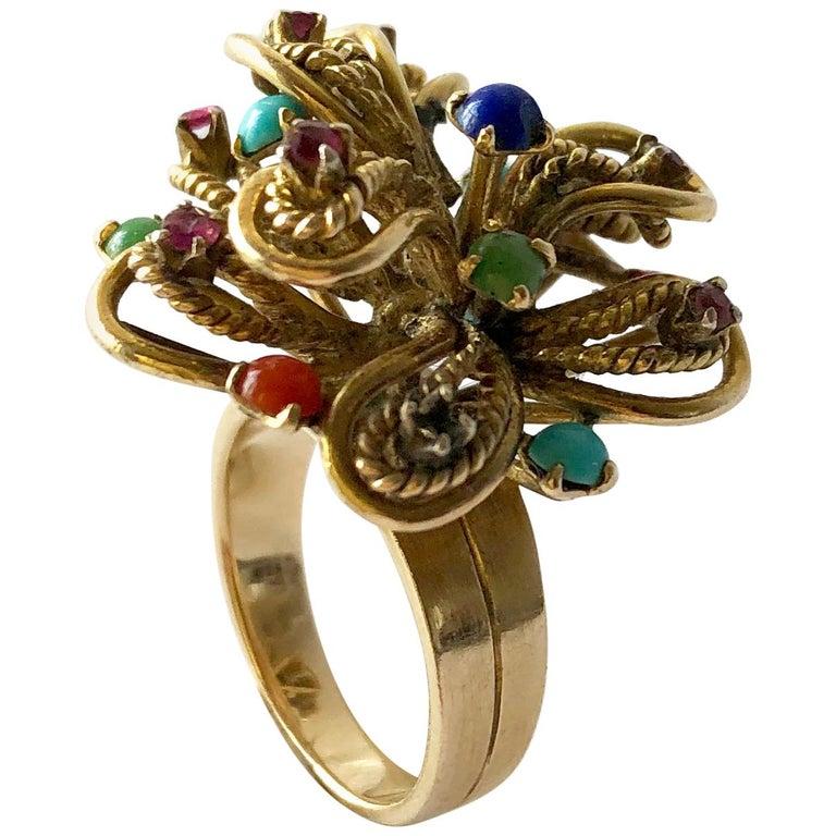 1960s 14 Karat Gold Garnet Turquoise Lapis Multi Gemstone Flower Cocktail Ring For Sale