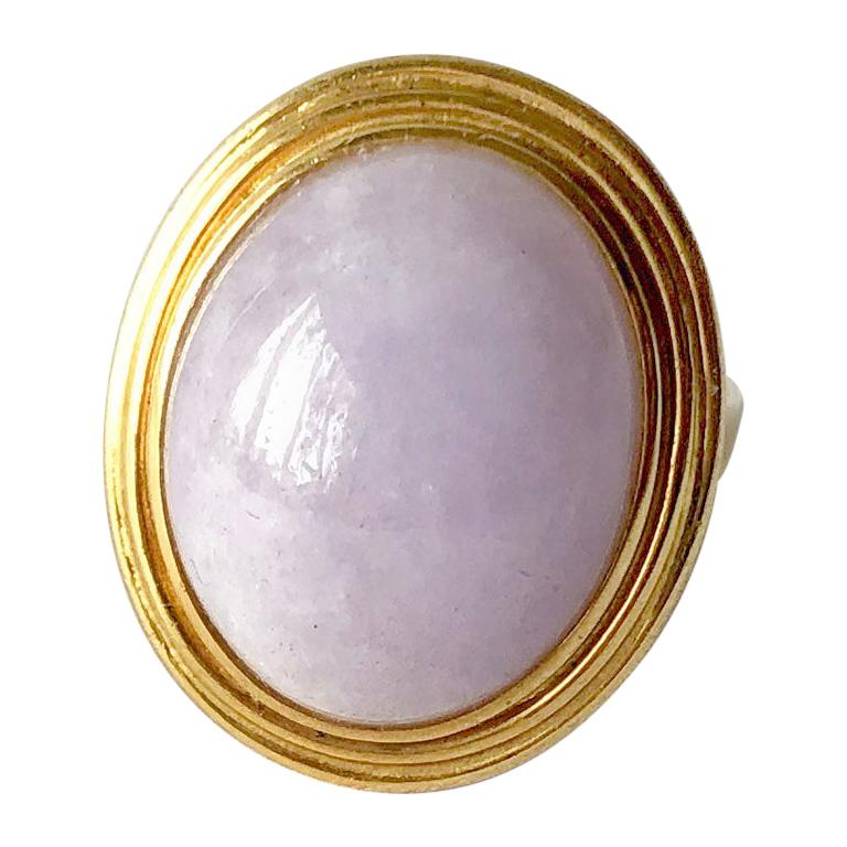 1960s 14 Karat Gold Lavender Jade Cabochon Dinner Ring For Sale