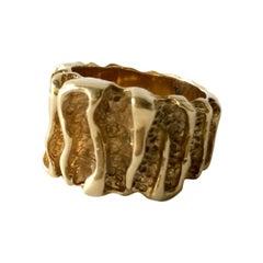 1960s 14 Karat Gold Modern Brutalist Textured Wide Band Ring