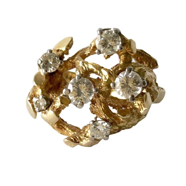 1960s 14 Karat Gold Six Diamond Branching Twigs Ring For Sale