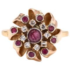1960s 14 Karat Yellow Gold Ruby and Diamond Ring
