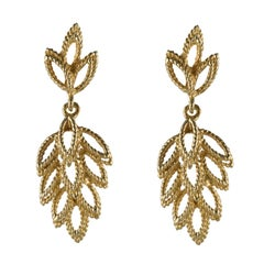1960s 14 Karat Yellow Gold Leaf Shaped Dangle Earrings