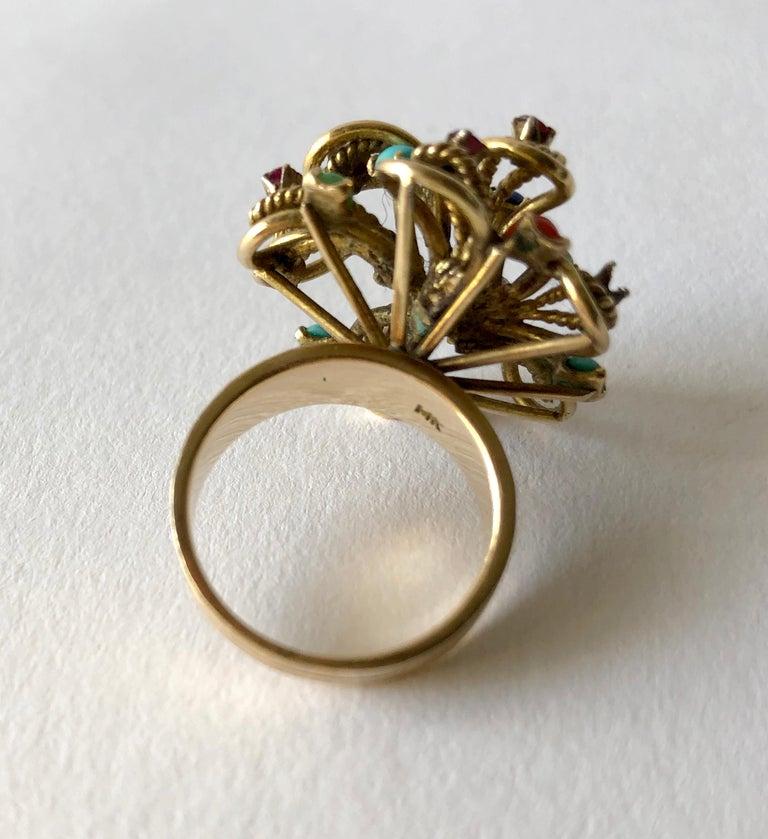 Modernist 1960s 14 Karat Gold Garnet Turquoise Lapis Multi Gemstone Flower Cocktail Ring For Sale