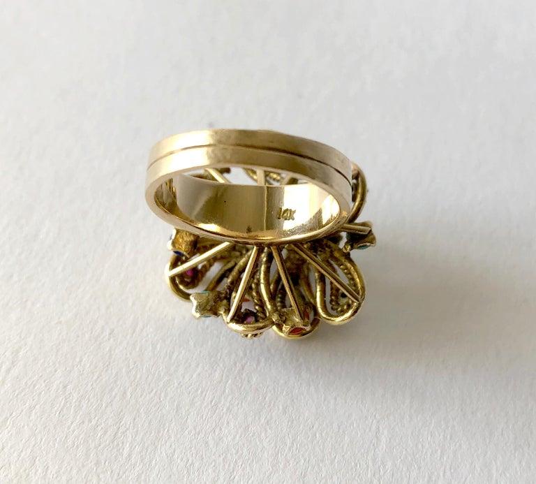 Cabochon 1960s 14 Karat Gold Garnet Turquoise Lapis Multi Gemstone Flower Cocktail Ring For Sale