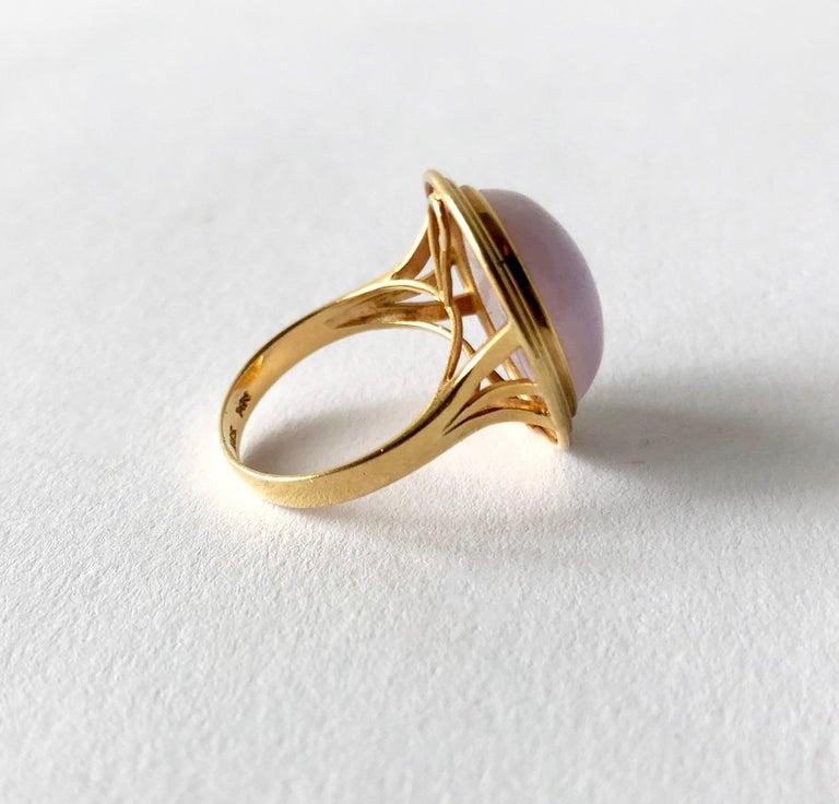 Modernist 1960s 14 Karat Gold Lavender Jade Cabochon Dinner Ring For Sale