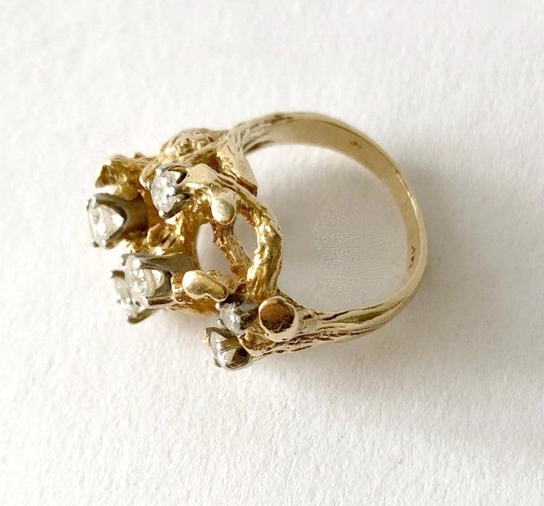 Modernist 1960s 14 Karat Gold Six Diamond Branching Twigs Ring For Sale