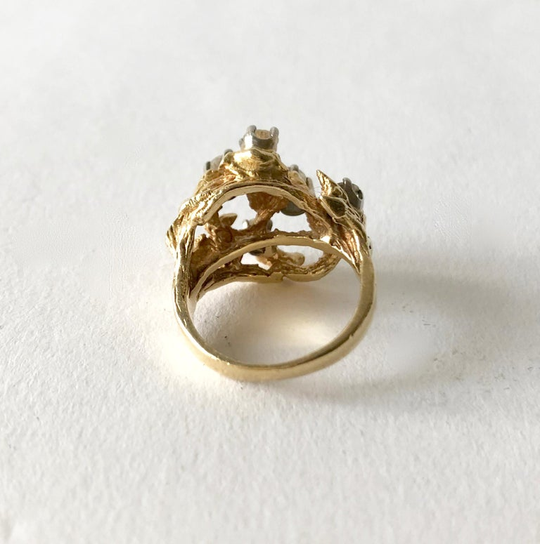 1960s 14 Karat Gold Six Diamond Branching Twigs Ring In Good Condition For Sale In Los Angeles, CA