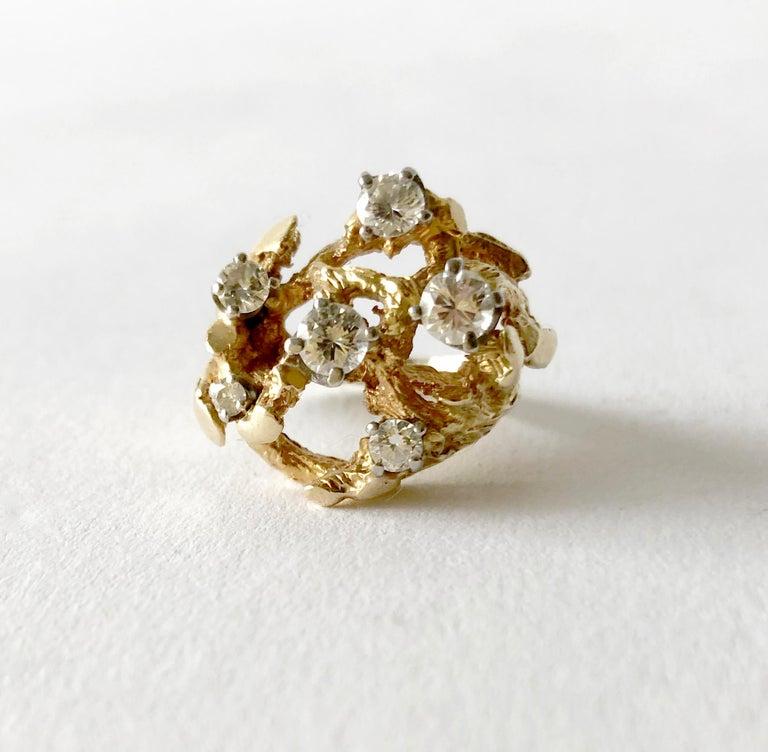 Women's 1960s 14 Karat Gold Six Diamond Branching Twigs Ring For Sale