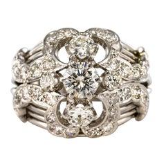 1960s 1.50 Carat Diamond 18 Karat White Gold Retro Dome Ring