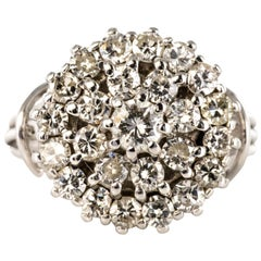 1960s 1.50 Carat Diamonds 18 Karat White Gold Thread Ring