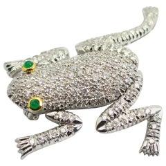 "1960s 18 Karat 2 Carat Diamond ""Frog"" Pin-Pendant"