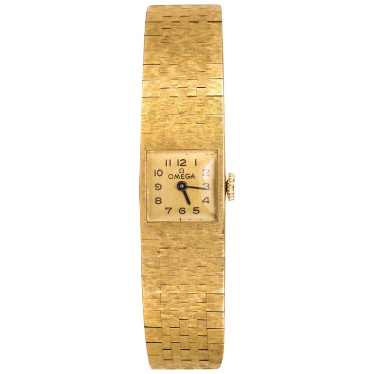 1960s 18 Karat Amati Yellow Gold Omega Ladies Watch For Sale