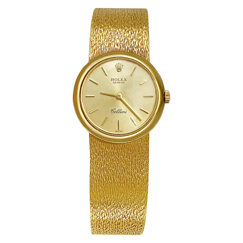 """1960s 18 Karat Gold """"Rolex"""" Cellini Ladies 18 Karat Yellow Gold Watch"""