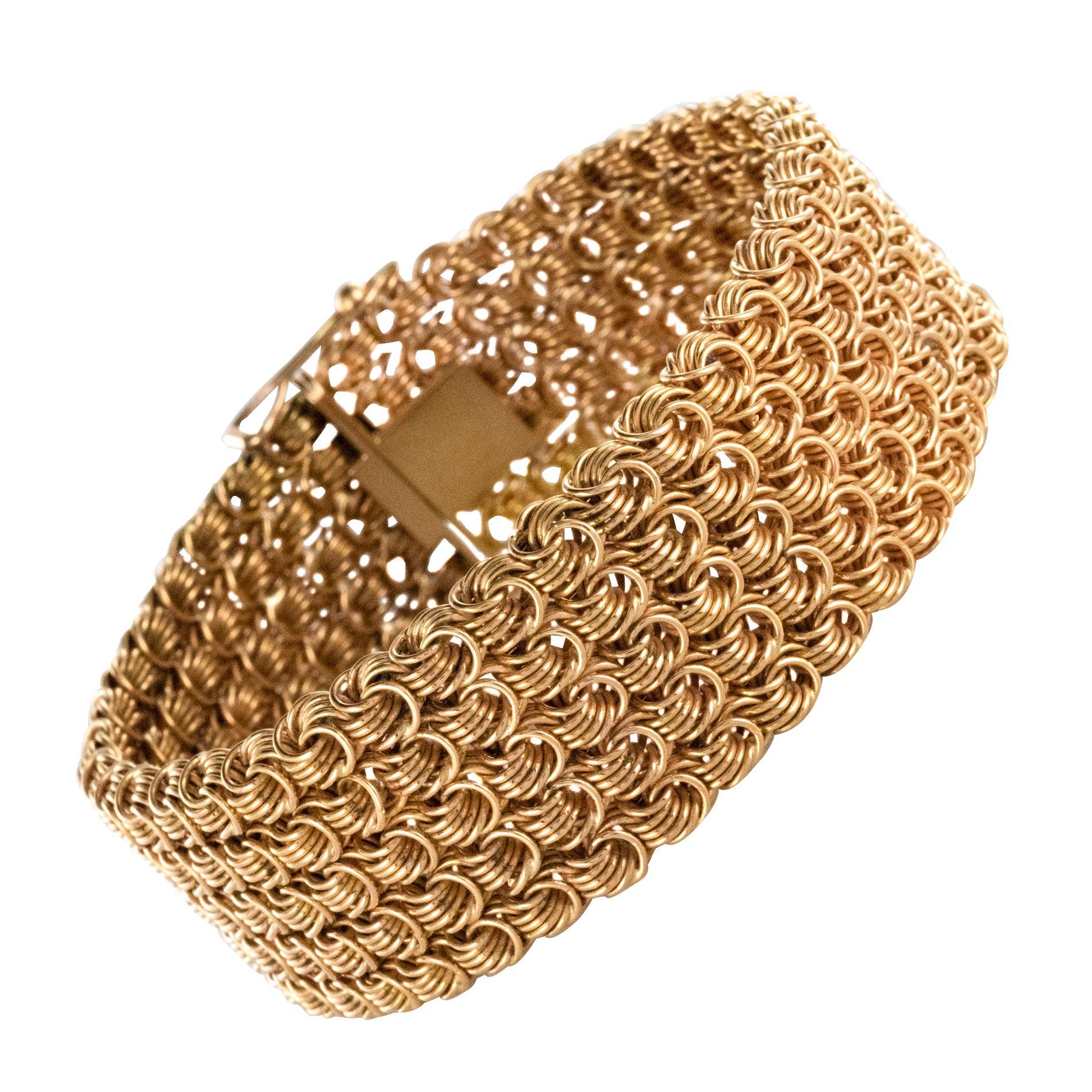 1960s 18 Karat Rose Gold Openwork Woven Mesh Bracelet
