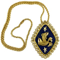 1960s 18 Karat Zodiac Pisces Lapis and Ruby Pendant with 18k Yellow Gold Chain