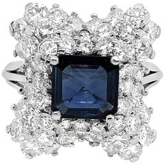1960s 1.82 Carat Sapphire and 3 Carat Total Weight Diamond Ring in Platinum