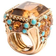 1960s 18k Yellow Gold Turquoise and Citrine Cocktail Ring