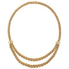 1960s 18 Karat Rose Gold Drapery Necklace