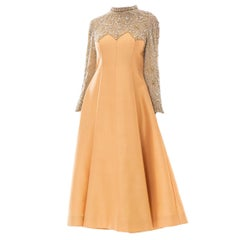 1960s 1950s/60s Victoria Royal Ltd. Peach Gown w/ Pearl & Rhinestone Beading