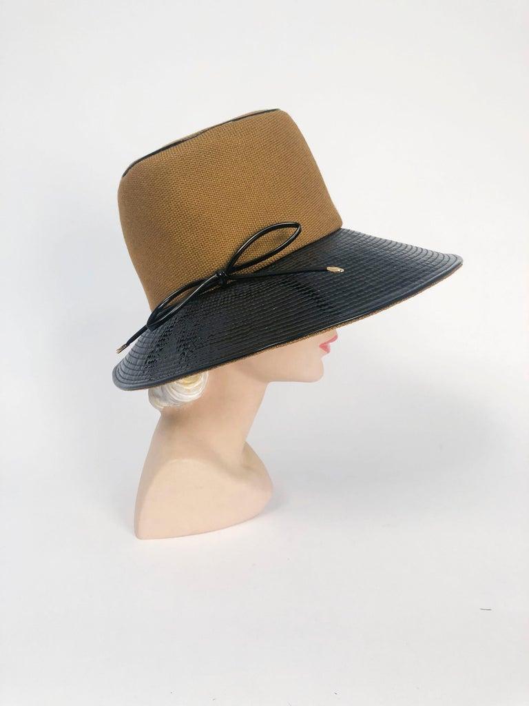 Beige 1960's/1960's Oleg Cassini Black and Khaki Vinyl Wide Brimmed Hat   For Sale