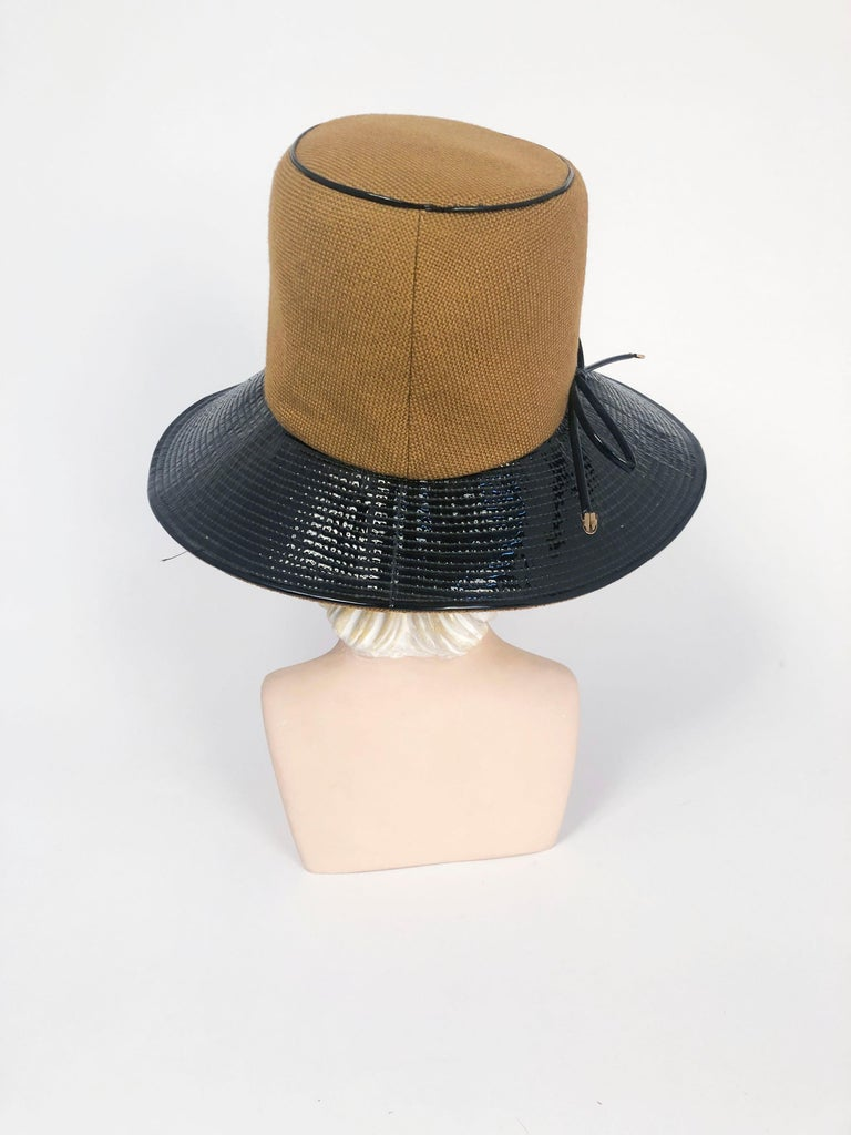 1960's/1960's Oleg Cassini Black and Khaki Vinyl Wide Brimmed Hat   In Good Condition For Sale In San Francisco, CA