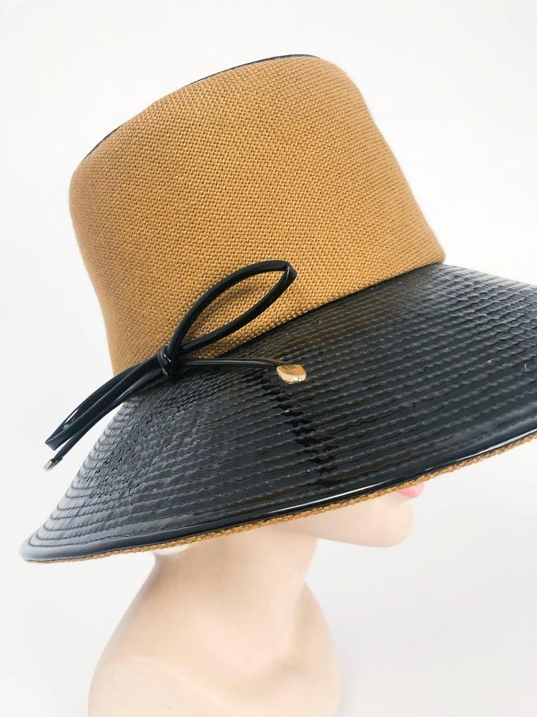 Women's 1960's/1960's Oleg Cassini Black and Khaki Vinyl Wide Brimmed Hat   For Sale