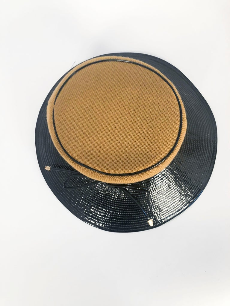 1960's/1960's Oleg Cassini Black and Khaki Vinyl Wide Brimmed Hat   For Sale 1