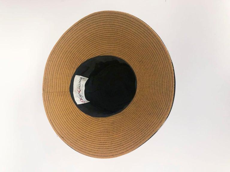 1960's/1960's Oleg Cassini Black and Khaki Vinyl Wide Brimmed Hat   For Sale 2