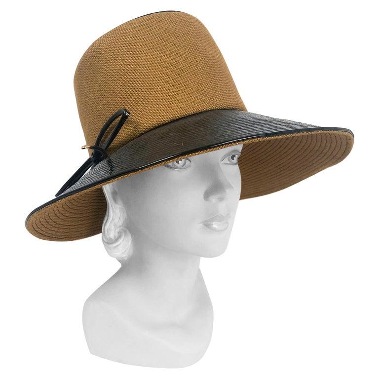 1960's/1960's Oleg Cassini Black and Khaki Vinyl Wide Brimmed Hat   For Sale