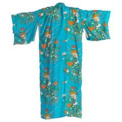 1960'S Teal Silk Iris Floral Print Kimono
