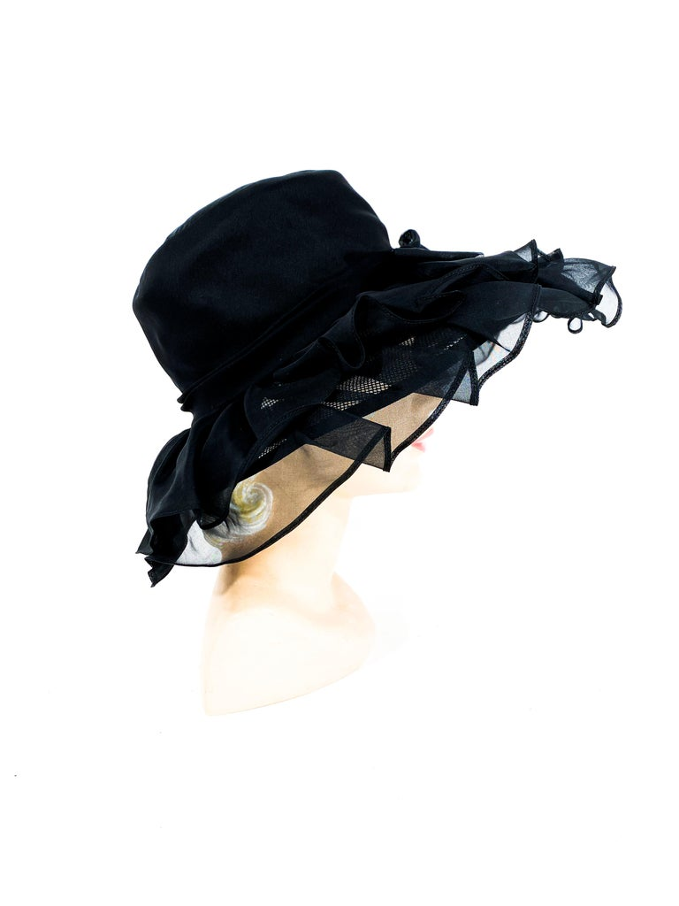 Women's 1960s/1970s Black Ruffled Wide Brimmed Hat For Sale