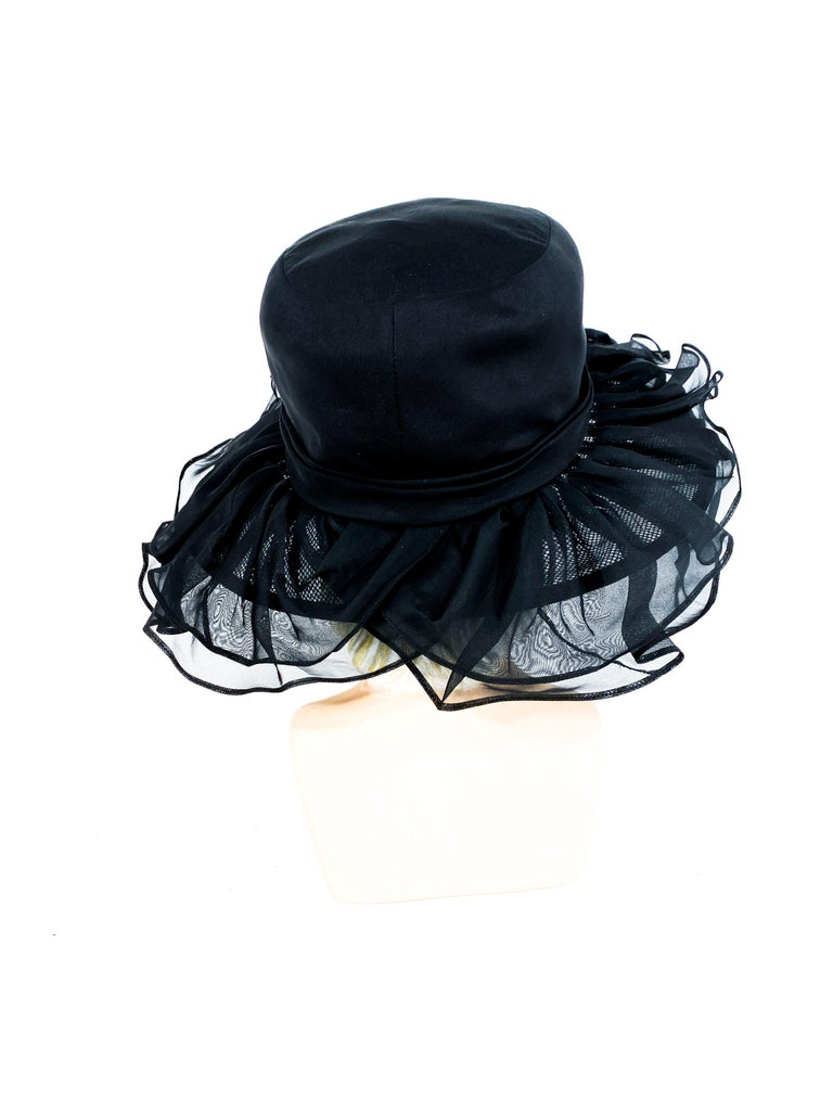 1960s/1970s Black Ruffled Wide Brimmed Hat For Sale 1