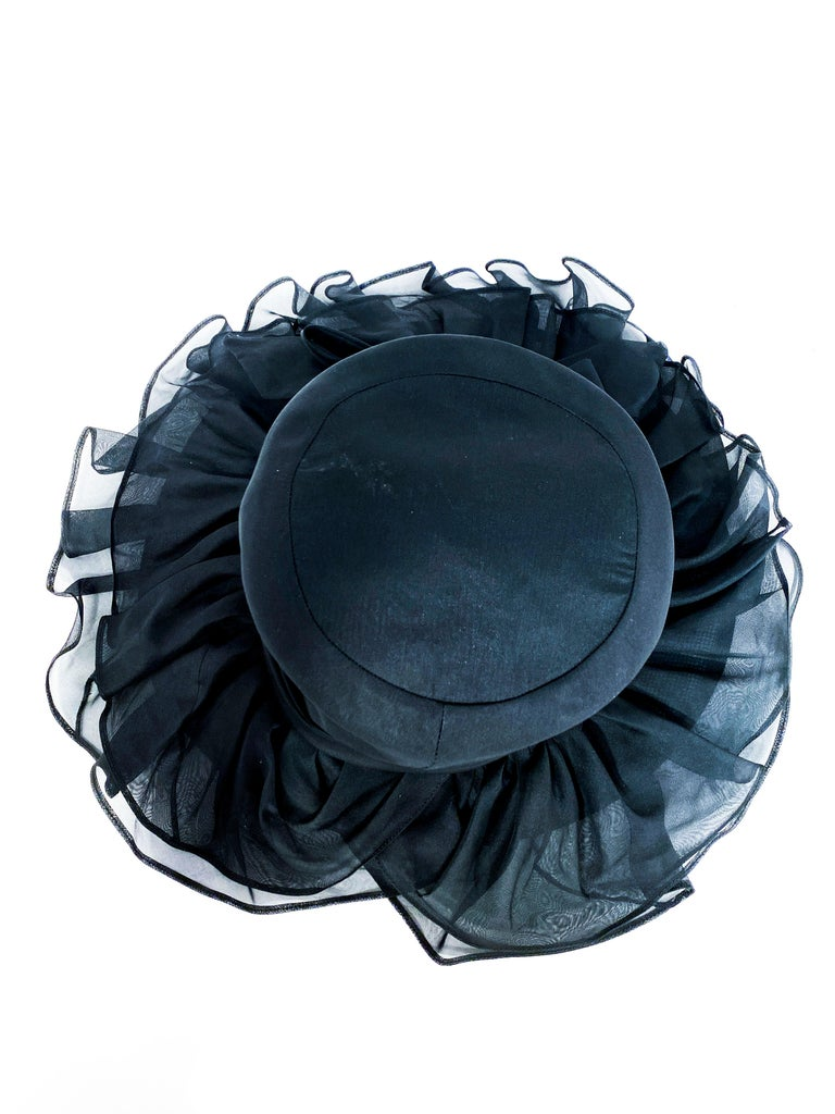 1960s/1970s Black Ruffled Wide Brimmed Hat For Sale 2