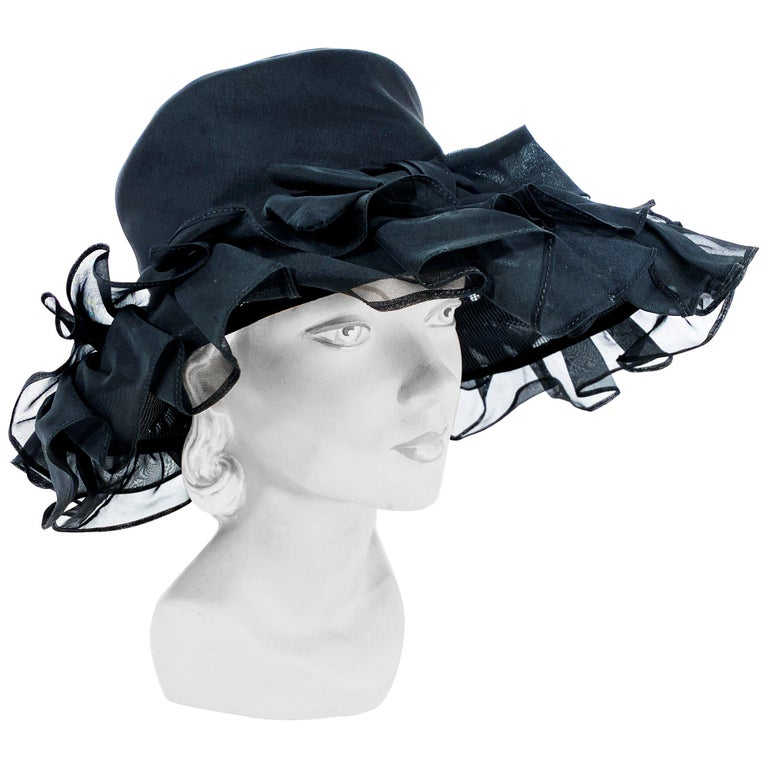 1960s/1970s Black Ruffled Wide Brimmed Hat For Sale