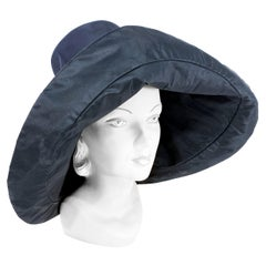 1960s/1970s Black Wide-Brimmed Unstructured Day Hat