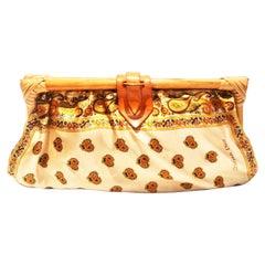 1960s/1970s Christian Dior Boho Hippie Paisley Clutch Bamboo Clutch Bag
