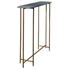 1960s-1970s Design Black Marble And Brass Console Table