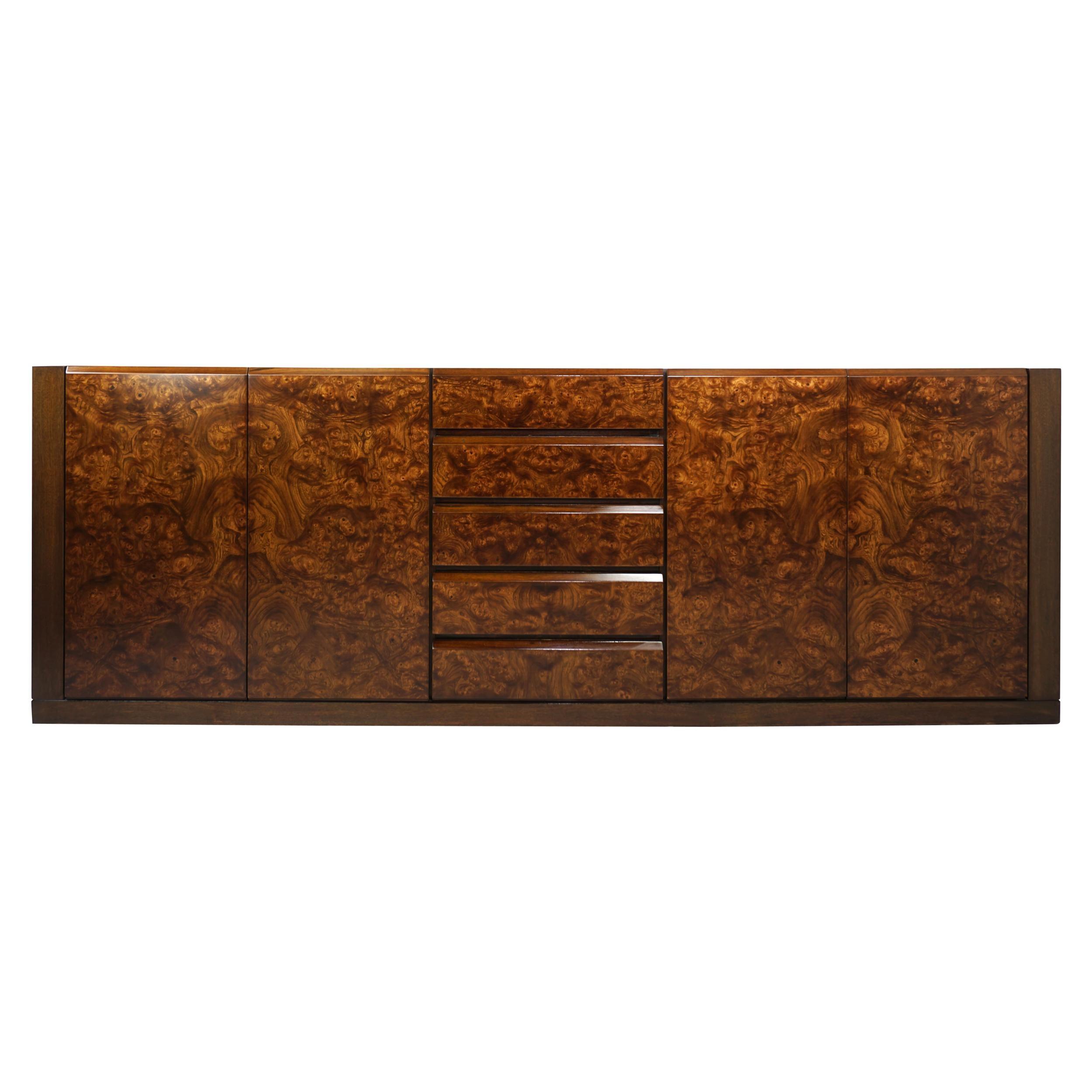 1960s - 1970s Design Burl Walnut Wooden Important Sideboard